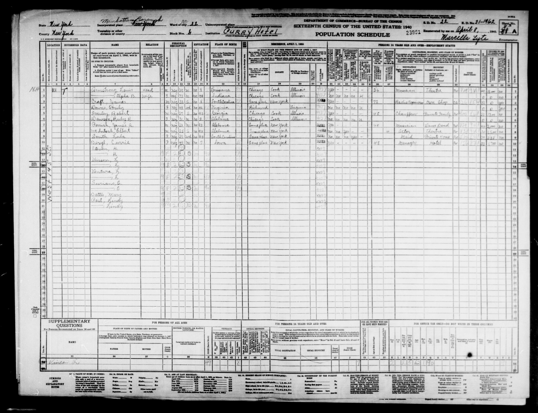 USA folketælling 1940: Louis Armstrong var 39 år gammel (www.myheritage.com/research)